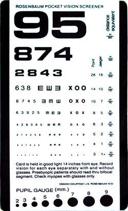photograph about Eye Chart Printable referred to as Rosenbaum Pocket Screener (Eye Chart)